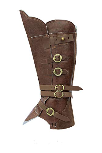 CP-Schuhe Mittelalter Gamaschen Stiefelstulpen (L, Braun)