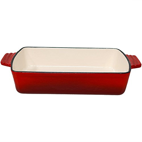 Sunnydaze 11.5-Inch Red Enameled Cast Iron Lasagna Pan - Deep Cooking, Baking and Roasting Casserole Dish for Oven and Stove - Heavy Duty Metal Bakeware and Cookware