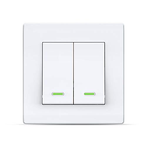 Smart Switch Alexa Smart Lichtschalter, Wi-Fi Smart-Wandschalter mit Fernbedienung und Timer, Alexa Echo-Schalter, kompatibel mit Alexa Echo, Google Home, kein Hub erforderlich (2 Gang)