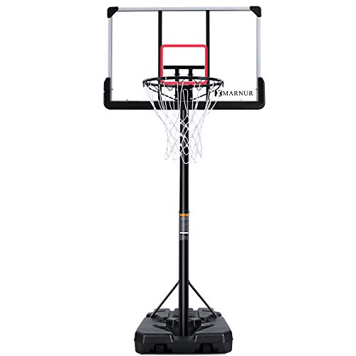 MARNUR Basketball Hoop Basketball System Portable Basketball Goal Basketball Equipment with Adjustable Height with Big Backboard & Wheels and Large Base for Youth and Adults Family Indoor Outdoor