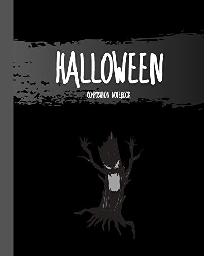 """Halloween Composition Notebook: Whomping Willow Tree - Classic Black 8x10"""" 110 Pages Wide Ruled Paper, Blank Lined Diary / Journal / Notes, Book Gifts (Halloween Composition Books)"""