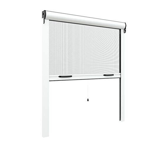 Zanzariera Verticale per finestre su Misura 42 mm cassonetto Sottile Personalizzabile a Rullo con Molla Telaio con Profilo Robusto e Resistente in Alluminio Bianco