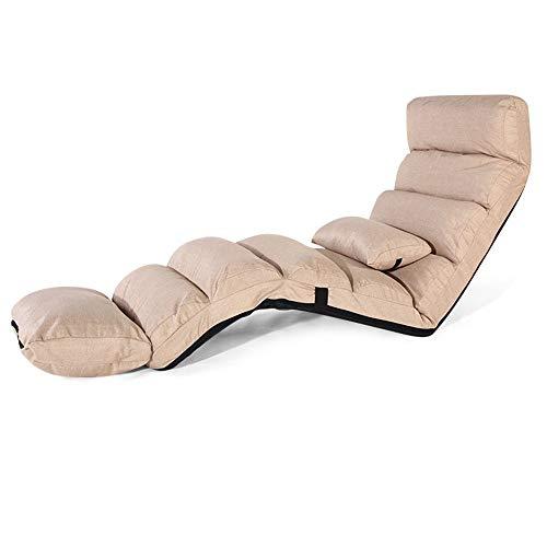 ZEFENG FENGZE Home Leisure Chair - Sun lounger Lengthen Lounge Sofa Bed Folding Adjustable Floor Lounger Sleeper Futon Mattress Seat Chair W/Pillow (Color : Beige)