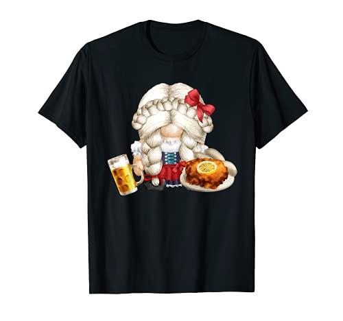Linda Dirndl Gnomo Chica Con Schnitzel & Cerveza Oktoberfest Camiseta