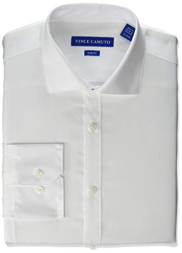 Vince Camuto Men's Slim Fit Spread Collar Fashion Dress Shirt, White Solid, 16.5 32/33