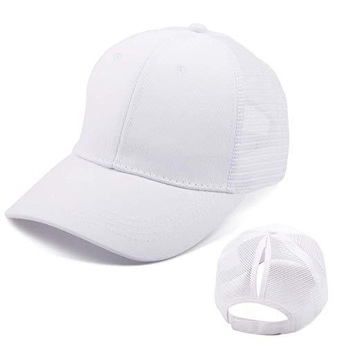 Bwiv Baseball Cap Damen Mesh Pferdeschwanz Basecap Atmungsaktiv Hut Sonnenhut Sonnenschutz Mädchen Kappe Schirmmütze Einheitsgröße Kopfumfang Weiß