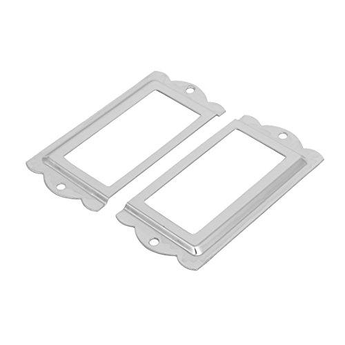 Aexit Bibliotheekkast Lade Kaart Tag Label Houders Zilverkleurig 85mm x 42mm 2 STUKS