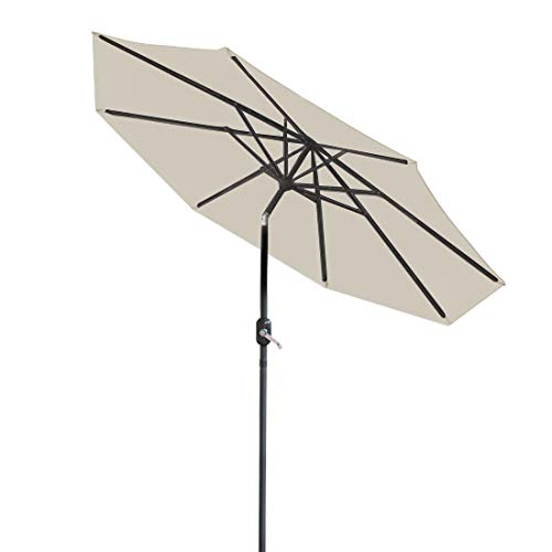 Greenbay 3M Round Garden Greenbay Parasol Umbrella Patio Outdoor Sun Shade Aluminium Crank Tilt Cream