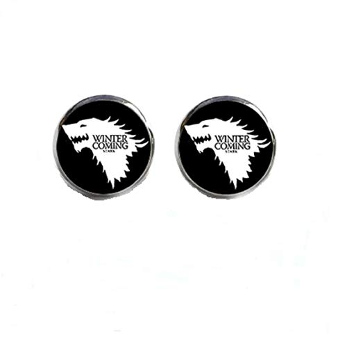 pretty.lovable.mishmash House Stark Glass Stud Earrings Game of Thrones Dire Wolf Winter is Coming