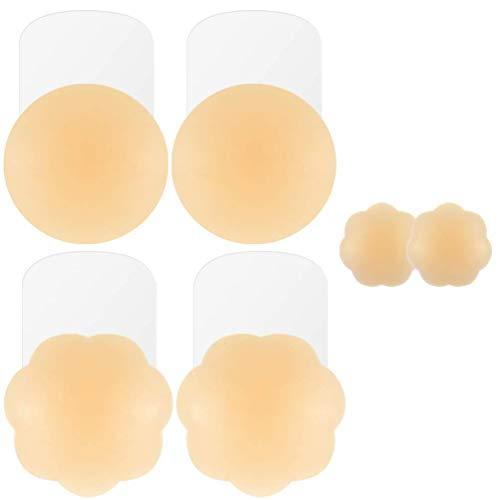 Niidor Reusable Pasties Adhesive Silicone Pasties Bra (1 Pairs Round/Flower)