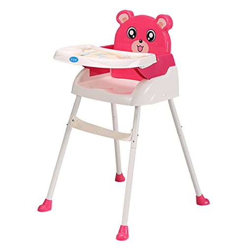 DDH Junqin Baby High Clash Feeding high Chair Non-Slip 4 in 1 Portable high Chair, with Pallet seat Belt, Easy to Assemble, Suitable for Baby 6 Months to 3 Years (Pink)-Green-pink