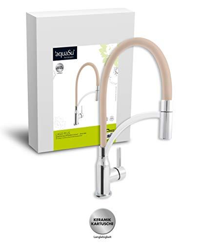 'aquaSu® 78898 4 Lago Plus Spültischarmatur | Einhandmischer für Küchenspüle | Chrom/Latte