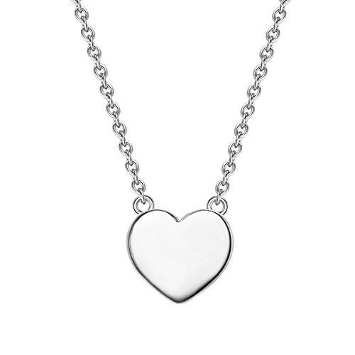 Glanzstücke München Damen-Silberhalskette mit Anhänger Herz Sterling Silber 40 + 5 cm lang - Silberkette Herzkette Modern-Kette mit Herz-Anhänger