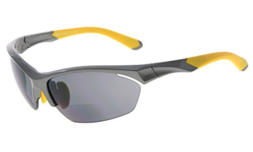 Eyekepper TR90 Sport Bifokale Sonnenbrille Baseball Laufen Angeln Fahren Golf Softball Wandern Halbrandlose Lesebrille (Perliges Grau, 2.00)