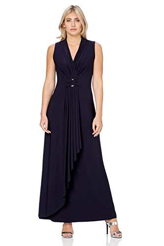 Roman Originals dames maxi-jurk - dames vloerlange jurk, V-hals, zomer, vakantie, avonds, diner, casual, stretchjersey, zonder mouwen