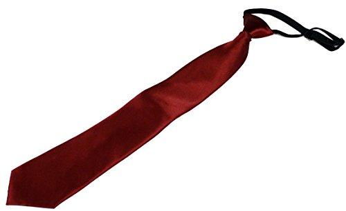 PB Pietro Baldini Krawatte mit Gummiband- Krawatte mit Gummizug Uni einfarbig - Sicherheits Krawatte, Gebunden, elegantes Satin-Finish -Größe 51 * 7,5 (bordeaux)