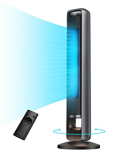 """TaoTronics Tower Fan with 12 Speeds , 42""""90° Oscillating Fan, DC Motor with 28dB, 30 Modes , Night Light, 12H Timer, LED Display, Quiet Cooling Bladeless Fan with Remote for Bedroom Living Room Office"""