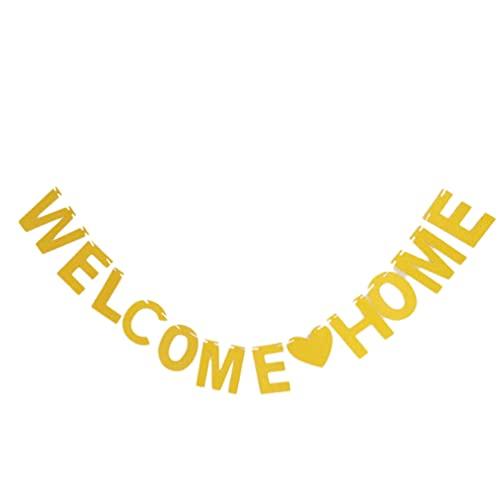jojofuny Banner de Bienvenida Brillante Bling Letra Dorada Palabras Guirnalda de Papel Banner Telón de Fondo Prop Pared Ventana Decoraciones para Home Shop