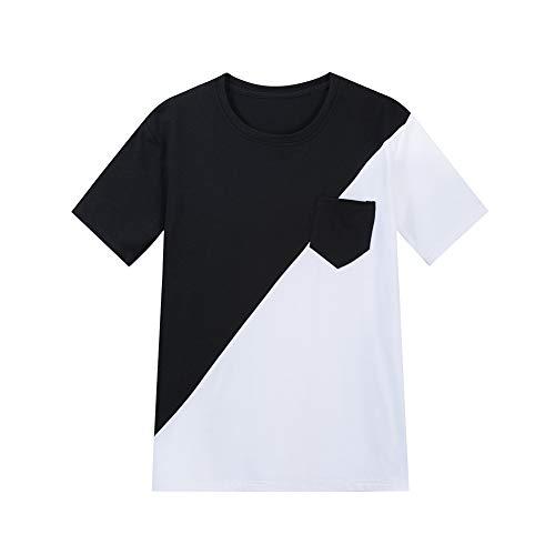 Mr.BaoLong&Miss.GO Código Europeo Camiseta Suelta De Manga Corta De Algodón Puro De Color Sólido para Hombres Camiseta Negra Casual Camiseta Blanca