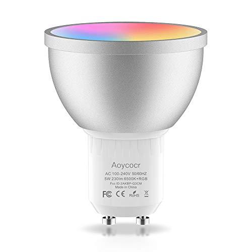 Smart WLAN LED Lampe GU10 Wifi Glühbirne, 50 W, 6500 Kelvin, Reflektor, GU10 Dimmbar, Aoycocr Alexa Glühbirne Mehrfarbige, Intelligente Home lampen Kompatibel mit Alexa Google Home, APP Fernbedienung