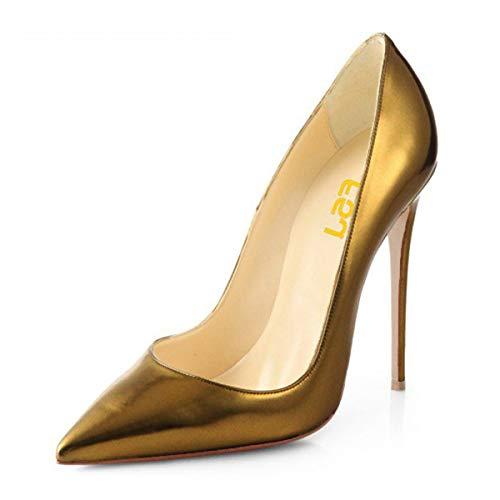 FSJ Women Fashion Pointed Toe Pumps High Heel Stilettos Sexy Slip On Dress Shoes Size 7 Gold