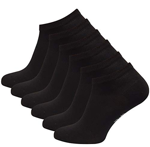 Vincent Creation 6 Paar BAMBUS Sneaker Socken, Schwarz, Gr. 43-46