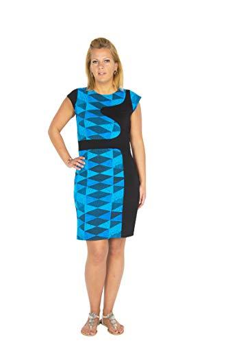 Aparte damesjurk uit bio katoen met korte mouwen in een kleurrijke graphische turquoise print en figuur flatterende asymmetrische lijnen