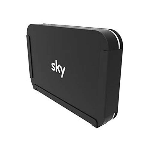 PENN ELCOM Easy Stick, Wandhalterung für Sky Q 1TB oder 2TB Box, aus schwarzem Stahl, selbstmontierend, schnell, stark, ordentlich