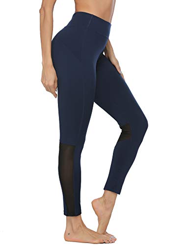 ADOME Women's Yoga Pants Workout Leggings Running Exercise Active Athletic Gym Tights High Waist Navy Blue