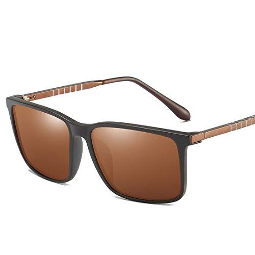 MIMIOOORE Gafas de Sol polarizadas Completa con Borde de la protección UV400 de conducción Ciclismo Pesca Correr Masculino Golf Pierna Cosecha Especial Duradero (Color : Brown)