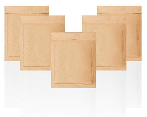 Amiff CD Size Natural Kraft bubble mailers 7.25 x 7 Brown Padded envelopes 7 1/4 x 7. Pack of 25 Kraft Paper cushion envelopes. Exterior size 7.5 x 8 (7 1/2 x 8). Peel and Seal. Mailing, shipping.