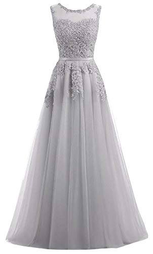 Romantic-Fashion Damen Ballkleid Abendkleid Brautkleid Lang Modell E010-E015 Blütenapplikationen Tüll DE Grau Größe 40