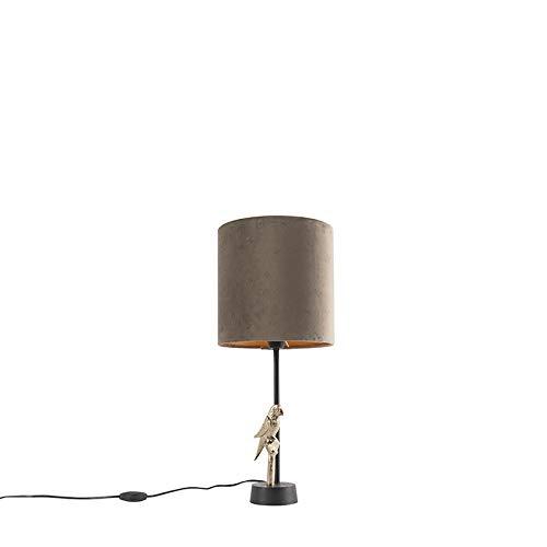 QAZQA Art Deco Art deco tafellamp zwart met velours taupe kap 20 cm - Pajaro Aluminium/Stof Cilinder/Langwerpig Geschikt voor LED Max. 1 x 40 Watt