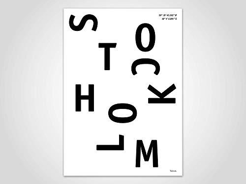 Stockholm — Poster, Stadt, Ort, Metropolen, Geografie, Holland, Stadtposter, Landkarte, Kunstdruck, skandinavisch, Deko, Weihnachten, Map, Schweden
