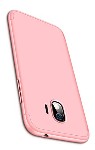 Tianqin Funda Samsung Galaxy J2 Pro Ultra Delgado Todo Incluido Caja 3 en 1 Case Bumper Protective Anti-Shock Carcasa Case Dura Slim Fit para Samsung Galaxy J2 Pro - Oro Rosa