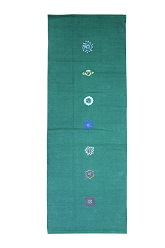 Yoga mad Unisex Cotton Chakra Pattern Yoga Rug, Green, One Size