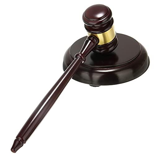 Fácil de usar Martillo 26 cm Mazo de madera exquisito Mazo de madera Hechas a mano Hammer Mallet + Subasta Decoración para abogados, jueces y subastadores Herramienta de martillo robusta y fácil de us