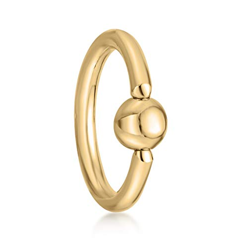 14K Yellow Gold Captive Bead Hoop Body Piercing Ring - 16 Gauge - 8 mm - Cartilage, Eyebrow, Lip, Tragus, Helix, Rook, Conch, Daith