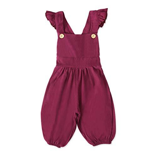 Livoral Mädchen ärmellose Overalls, kleine Kinder, rückenfreie Baumwolle, Overall Hosen(Rot,2-3 Jahrs)