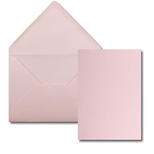 25 Stück Karte mit Umschlag Set - Einzel-Karten Din A5-14,8 x 21 cm rosa mit Brief-Umschlägen Din C5-15,4 x 22 cm rosa - Nassklebung
