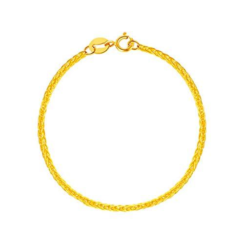 KnSam 18K Oro Amarillo Pulsera, Brazalete Malla Forma, Color Oro, Regalo para Amantes, 15CM