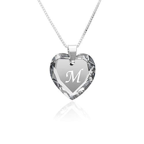 Kette Damen 925 Silber, SWAROVSKI ELEMENTS Herzanhänger Farbe Crystal Silber Buchstabengravur' M', Herzkette als Geschenk für die Frau, Freundin oder zum Valentinstag