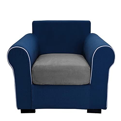 THJ Funda de cojín antideslizante de terciopelo elástico para sofá, fundas de asiento de sofá extraíbles con parte inferior elástica lavable, protector (gris)