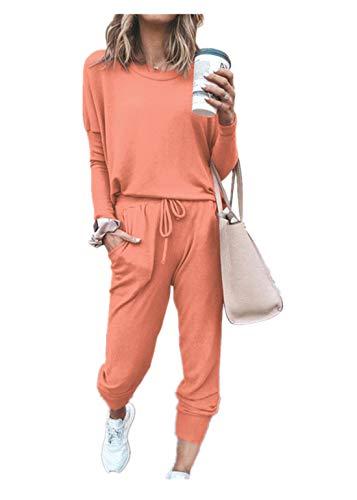 Fliegend Damen Freizeitanzug Elegant Zweiteiler Hosenanzug Casual Hausanzug Langarmshirt Lange Hosen Bekleidung Set Lässige Änzuge L