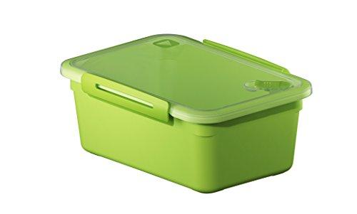 Rotho Memory Mikrowellendose mit Deckel 2 l und Ventil rechteckig, Kunststoff (BPA-frei), grün / transparent, 2 Liter (23 x 16 x 9,5 cm)