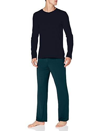 Schiesser Herren Long Life Soft Schlafanzug lang Rundhals Pyjamaset, Blau (dunkelblau), 46
