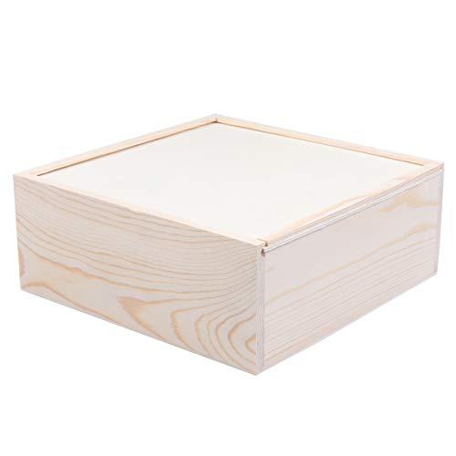 STOBOK Caja de Regalo de Madera sin Terminar con Caja de Almacenamiento Joyas Cuadrada Superior Deslizante Caja de Pulsera Titular para Fiesta de Cumpleaño