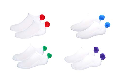 NEW! Pom Pom Socks Girls (4 Pair) Youth - Lowcut Ped Socks Pom-Pom Athletic Socks - Fits Kids Shoe Size: 9-3