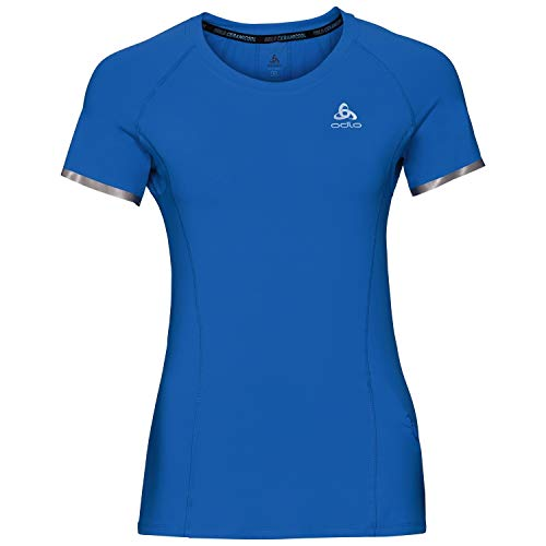 Odlo BL Top Crew Neck s/s ZEROWEIGHT CERAMICOOL Haut Femme, Energy Blue, s
