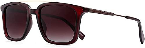 KOOMIBEAR Gafas de sol para hombre con protección UV polarizada, gafas de sol retro polarizadas, negras, azules y grises, para mujeres, hombres, unisex (Lente marrón + marco de bronce)